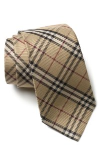 Burberry Woven Silk Tie in Beige for Men (coffee check)