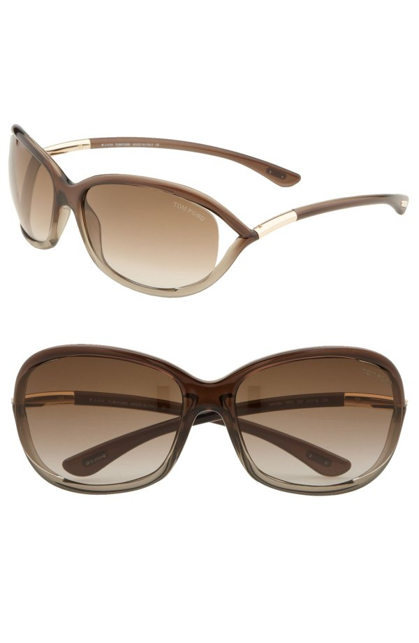 Tom Ford 'jennifer' 61mm Oval Frame Sunglasses In Brown