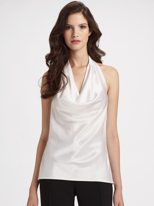 St. John Satin Halter Top In White Lyst