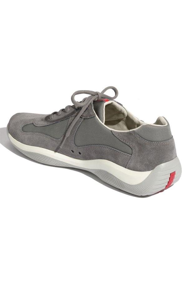 Prada Americas Cup Suede Sneaker In Gray Men Lyst