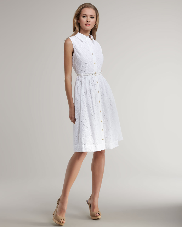 Kate Spade Raquel Cotton Eyelet Shirt Dress in White  Lyst