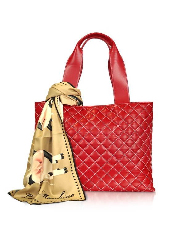 Moschino Large Quilted Tote Bag In Red Beige Lyst