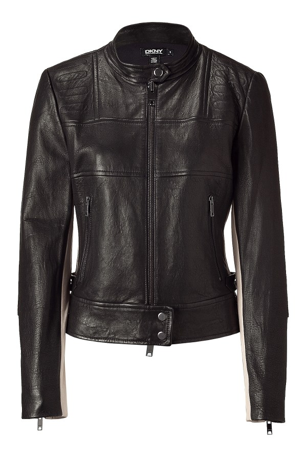 Dkny Black Nude Leather Biker Jacket In Lyst