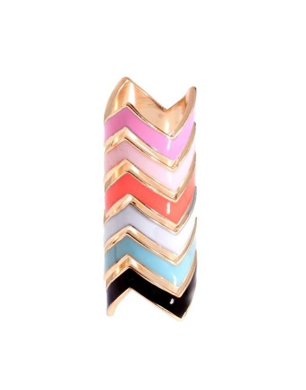 Lyst - Asos Collection Pack Of Six Enamel Zig Zag Rings