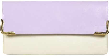 Topshop Leather Colour Block Purse in Purple (lilac)