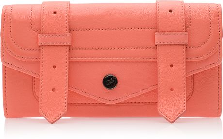 Proenza Schouler Ps1 Continental Leather Wallet in Pink