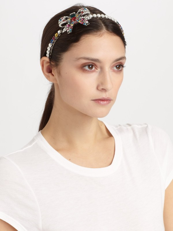 Miu Swarovski Crystal Accented Bow Headband In White