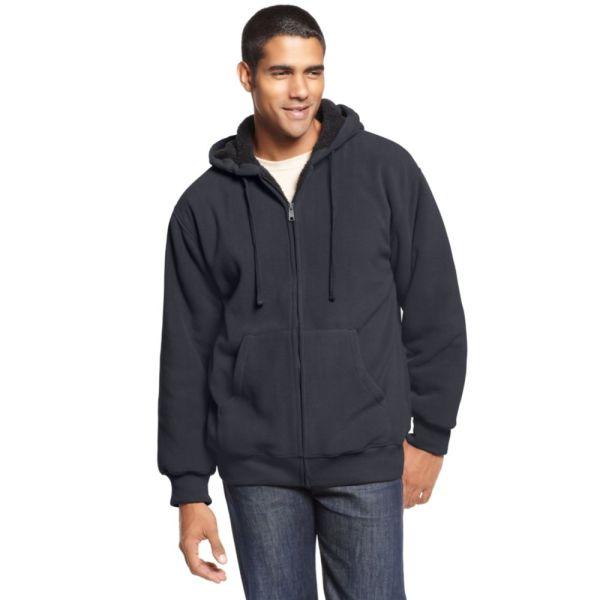 Weatherproof Faux Fur Lined Fleece Hoodie In Gray Men