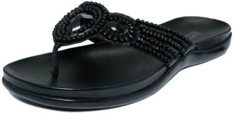 Kenneth Cole Reaction All Glam Flat Sandals in Black (black metallic) - Lyst