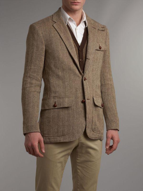 Lyst - Polo Ralph Lauren Tweed Blazer In Brown Men