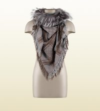Lyst - Gucci Gg Pattern Shawl With Fur Trim in Brown