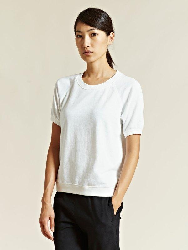 White Short Sleeve Sweatshirt
