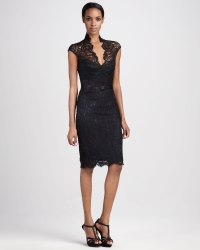 Theia Lace Cocktail Dress in Black | Lyst