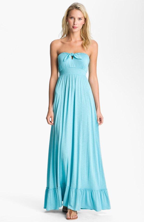 Bellatrix Strapless Maxi Dress In Blue Pool Lyst
