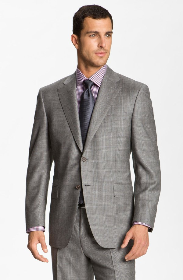 Canali Wool Suit In Gray Men Grey Plaid Lyst