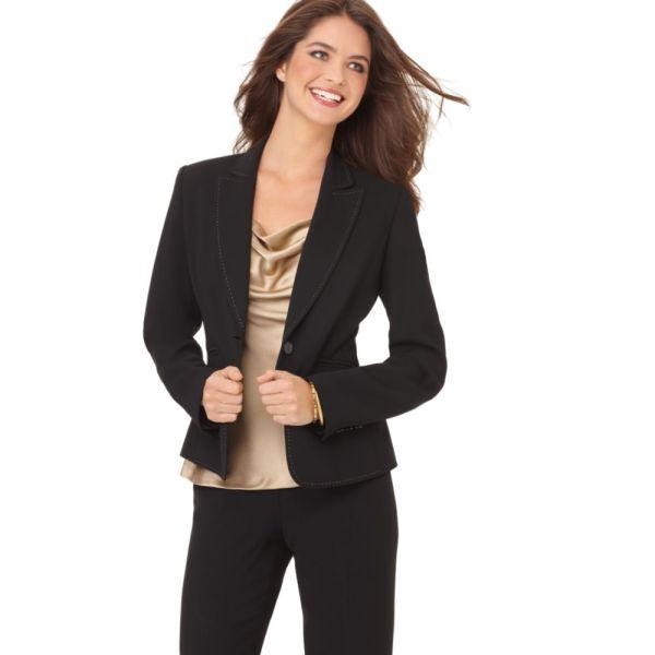 Nine West Suit Long Sleeve Contrast Stitched Jacket