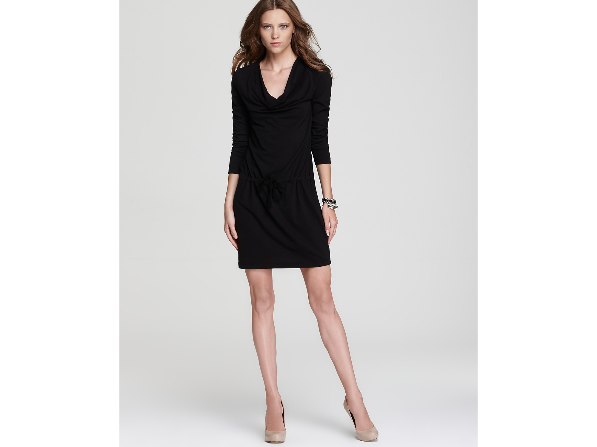 James Perse Cowl Neck Dress Drawstring Waist In Black