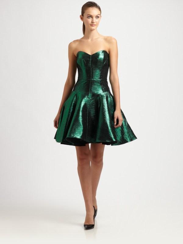 Lyst - Milly Lisa Metallic Dress In Green