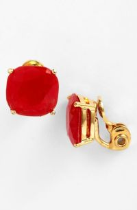 Kate Spade Crystal Stud Clip Earrings in Red (red/ gold ...