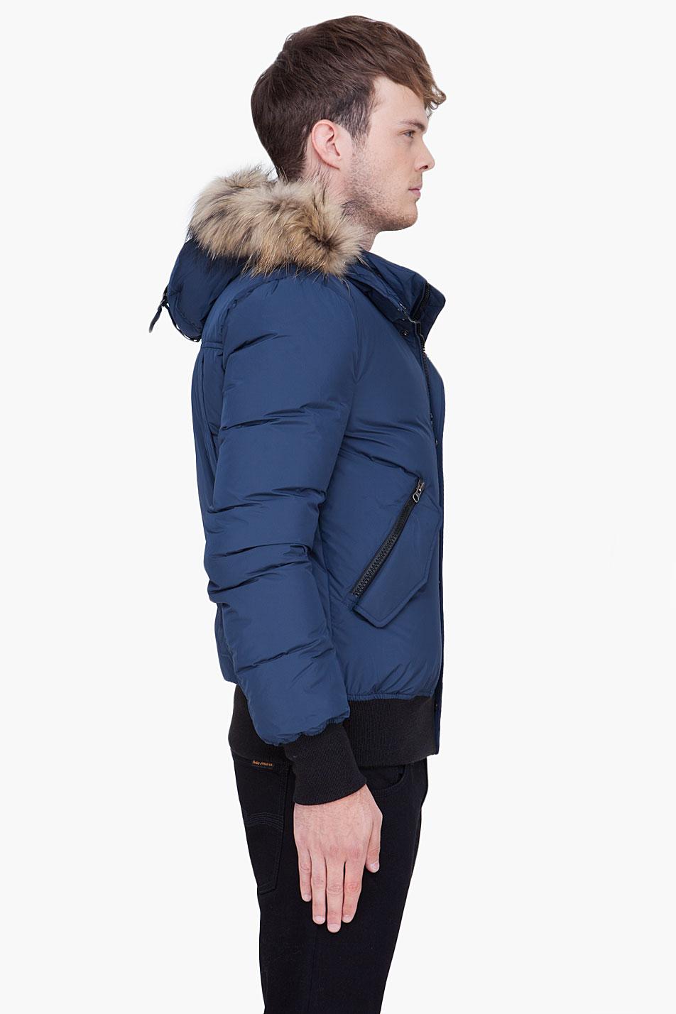 Lyst  Mackage Blue Raccoon Fur Hood Harvey Jacket in Blue