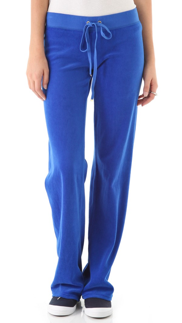 Juicy Couture Original Wide Leg Velour Pants In Blue Lyst