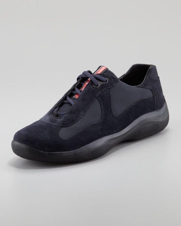 Lyst - Prada Americas Cup Suede Sneaker In Black Men