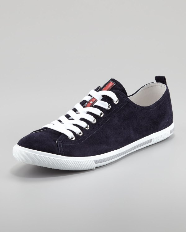 Lyst - Prada Suede Laceup Sneaker Navy In Blue Men