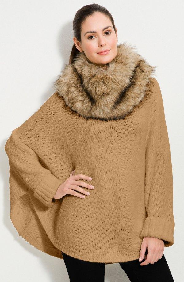 Michael Kors Faux Fur Trim Poncho Sweater