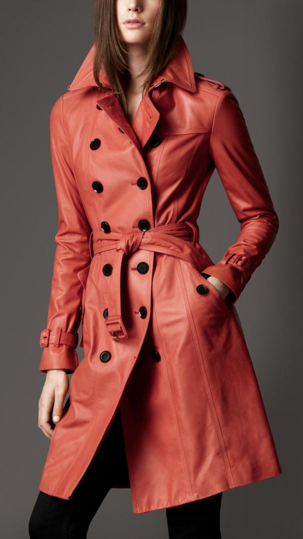 Lyst - Burberry Long Lambskin Trench Coat In Red