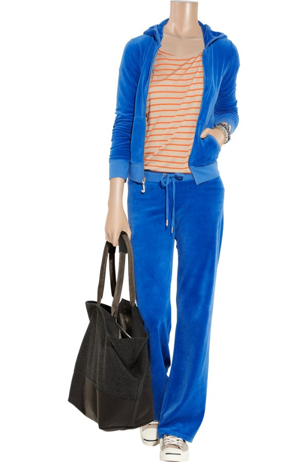 Juicy Couture Embellished Velour Track Pants In Blue - Lyst