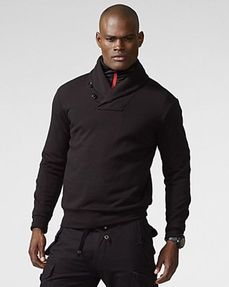 Ralph Lauren Rlx Shawl Collar Fleece Pullover in Black for