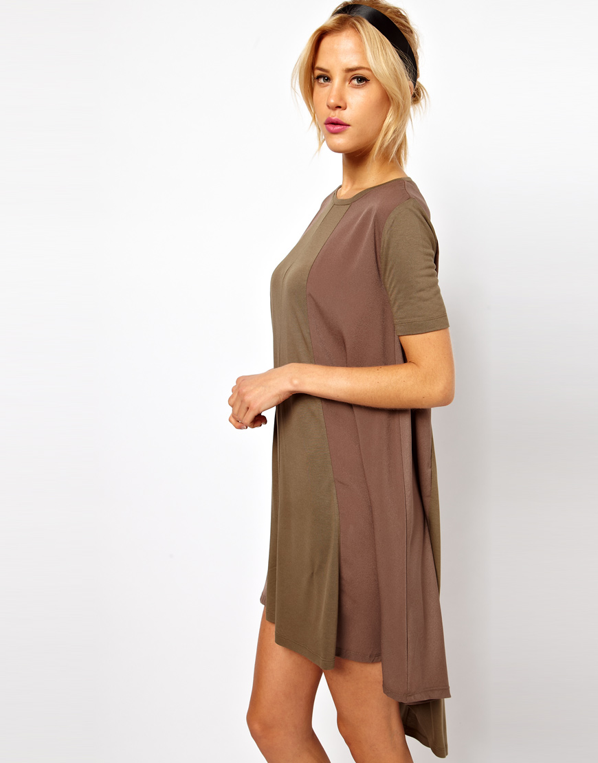 Asos Collection Asos Swing Dress with High Low Hem in Green  Lyst