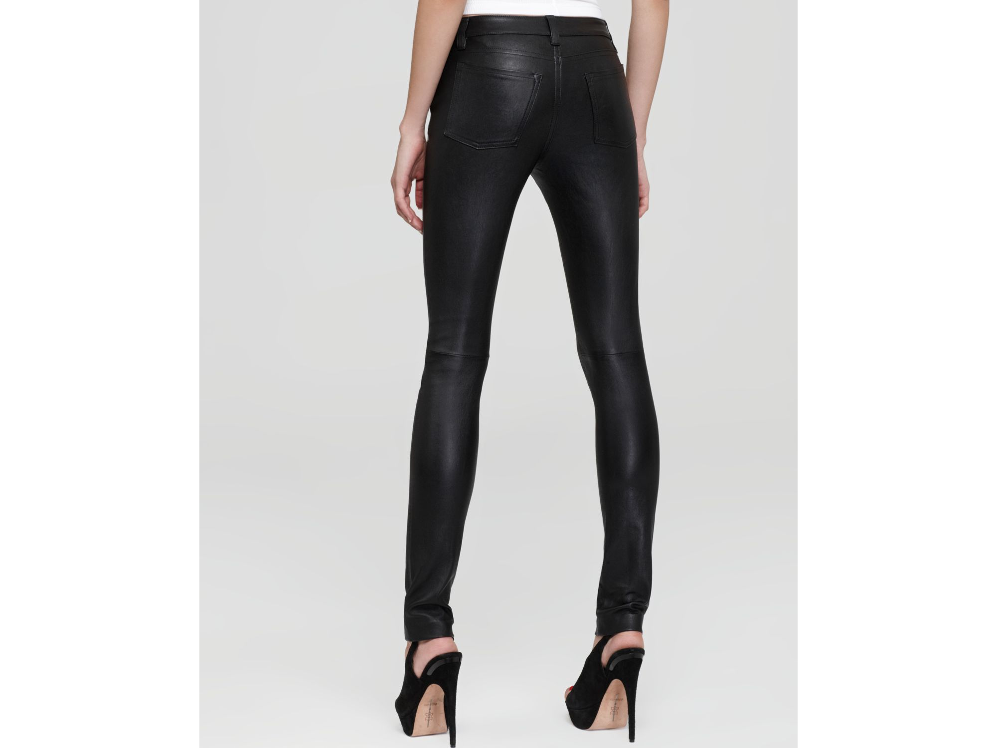 Vince Stretch Leather Pants In Black Lyst