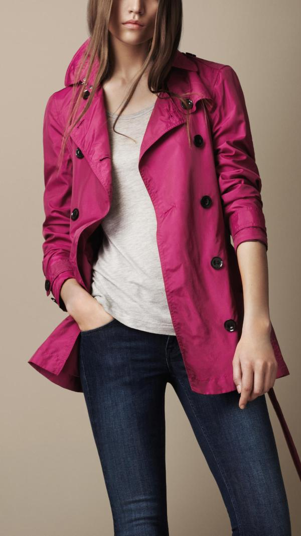 14d35b945c0 Burberry Brit Short Technical Silk Trench Coat In Pink Fuschia Lyst