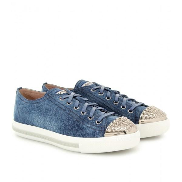 3f0eb00aec4e Miu Miu Denim Sneakers in Blue Lyst