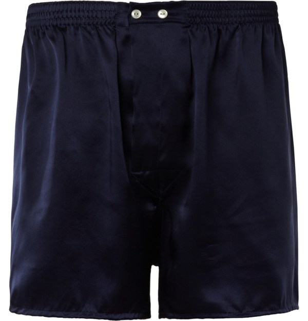 Derek Rose Charlie Silk-satin Boxer Shorts In Blue Men