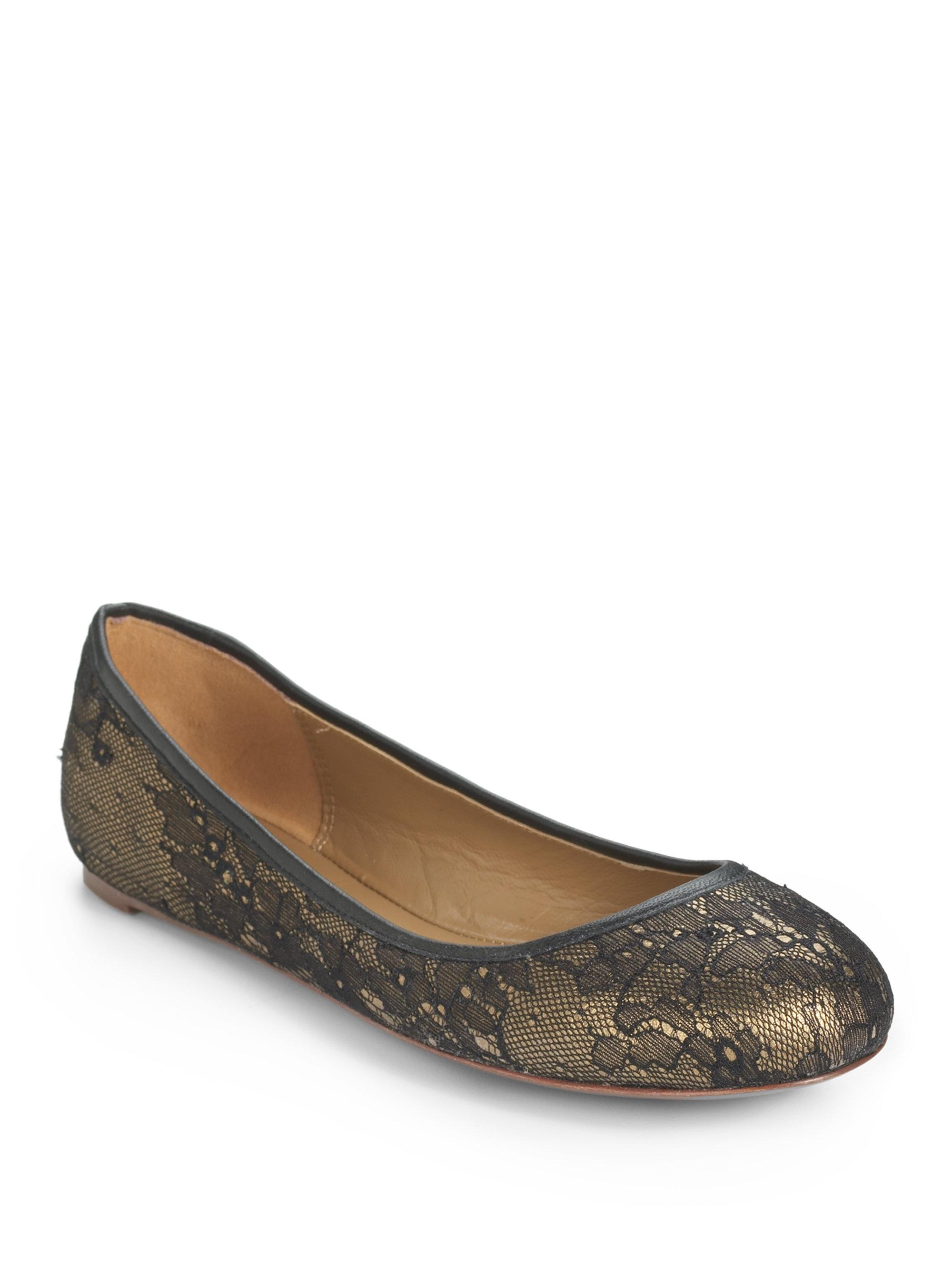 Elie Tahari Venus Lace Ballet Flats in Black blackgold