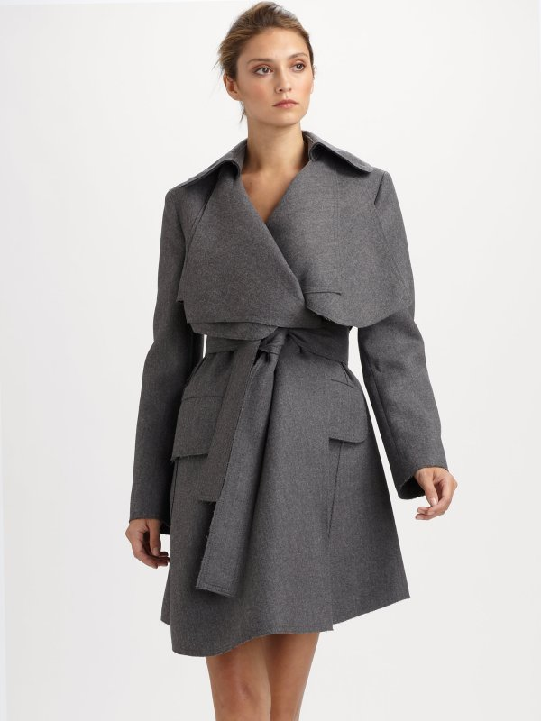 Fendi Wool Coat In Gray Grey Lyst