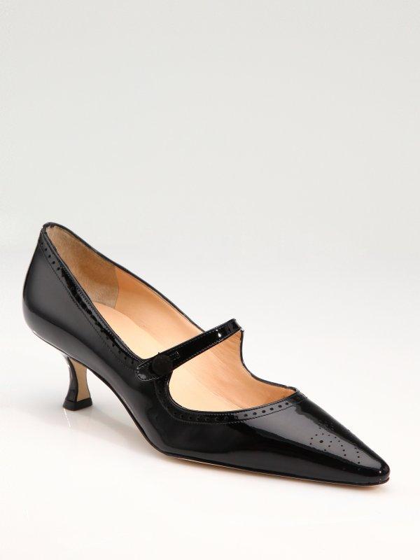 Manolo Blahnik Specari Patent Leather Mary Jane Pumps In