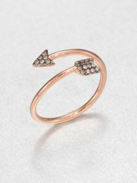 Diane Kordas Brown Diamond & 18K Rose Gold Arrow Wrap Ring ...