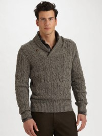 Lyst - Vince Tweeded Shawl-Collar Sweater in Brown for Men
