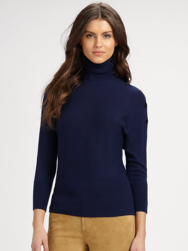 Ralph Lauren Blue Label Turtleneck Sweater In Natural Lyst