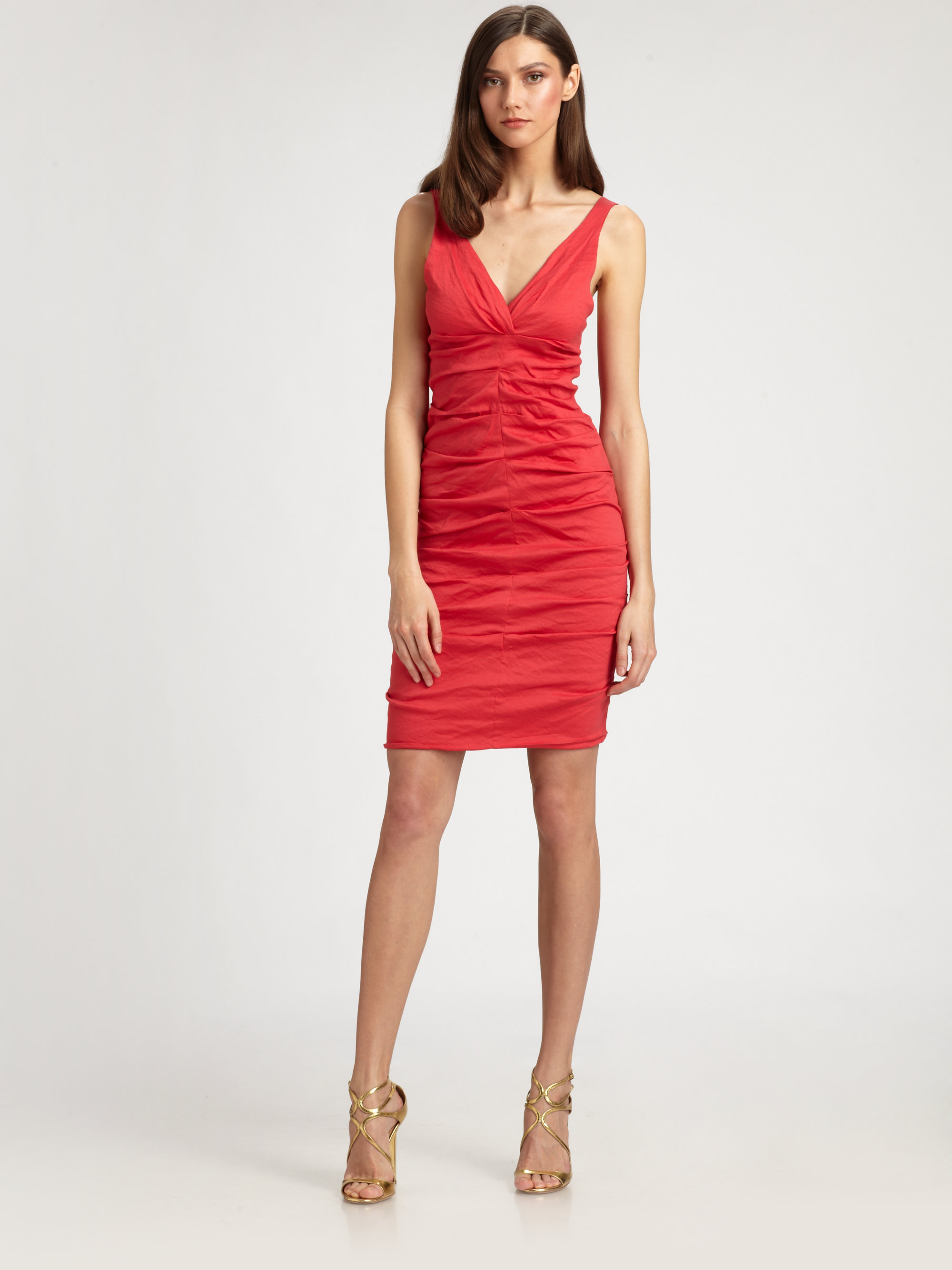 Nicole Miller Ruched Dress in Red watermelon  Lyst