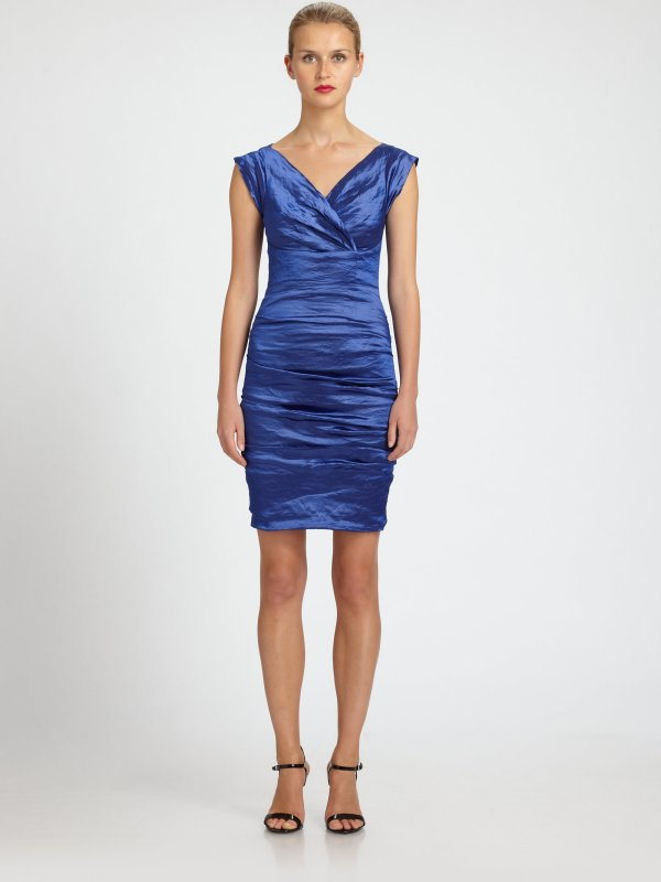 Nicole Miller Ruched Taffeta Dress In Blue Electric Lyst