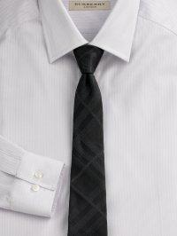 Lyst - Burberry Tonal-check Silk Tie in Black for Men