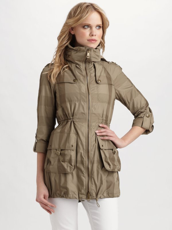 Lyst - Burberry Brit Check Anorak Jacket In Natural
