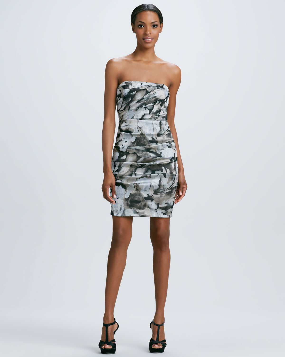 Nicole miller Strapless Floral Print Cocktail Dress in