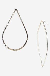 Argento Vivo Hammered Teardrop Hoop Earrings in Silver | Lyst