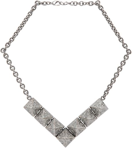 Valentino Large Single Threaded Black Pyramid Necklace in