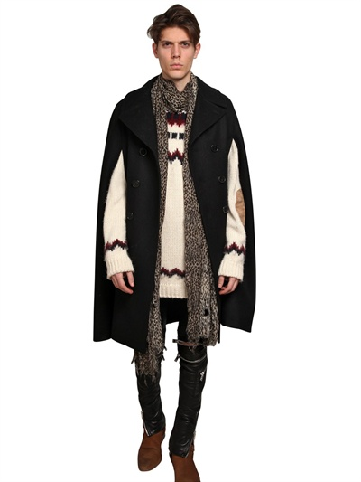 Black Wool Felt Double Breasted Cape Coat